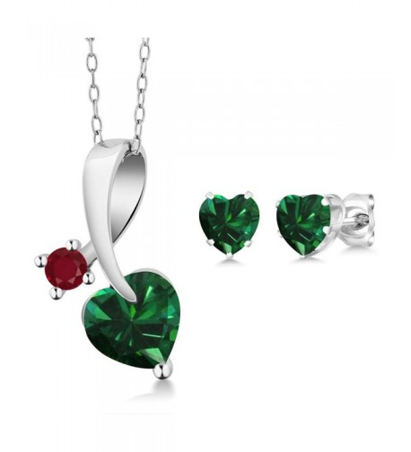 Simulated Emerald Sterling Pendant Earrings