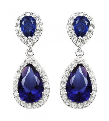 White Plated Sapphire Crystal Earrings