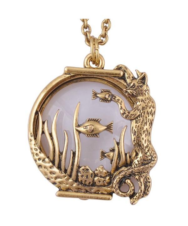 Leopard magnifier pendant necklace antique