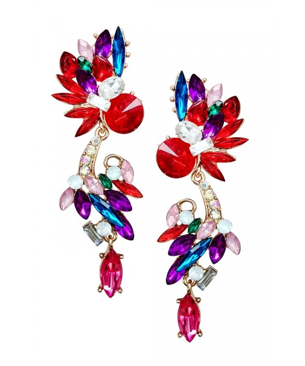 Mina Multi Colored Faceted Crawler Earring