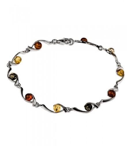 Sterling Silver Multicolor Amber Bracelet