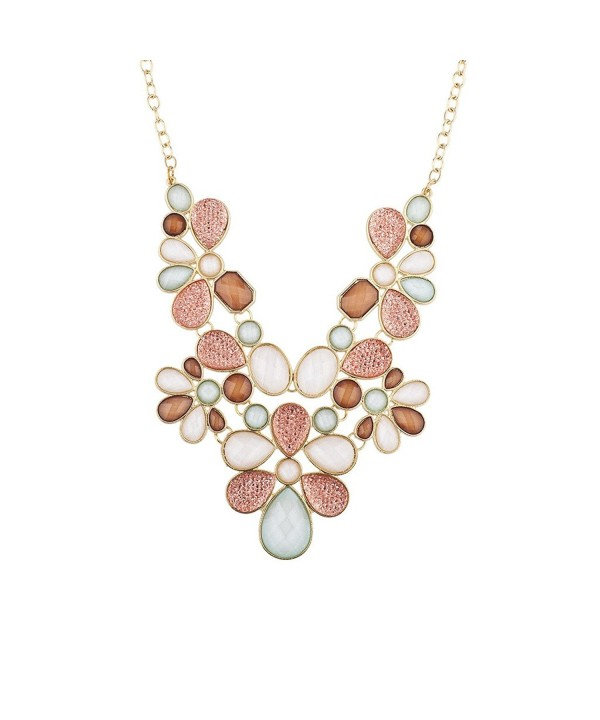 Lux Accessories Faceted Statement Necklace