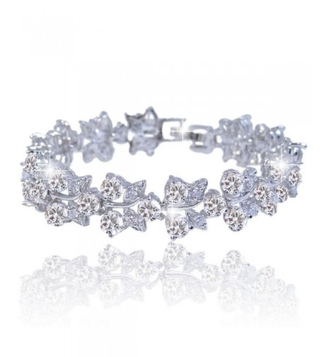 EVER FAITH Silver Tone Butterfly Bracelet