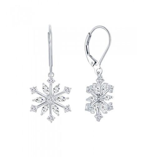 Sterling Snowflake Leverback Earrings Jewelry