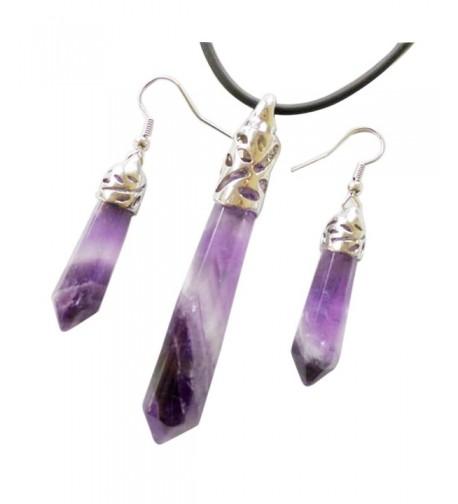 Newtrip Amethyst Pendulum Necklace Earrings