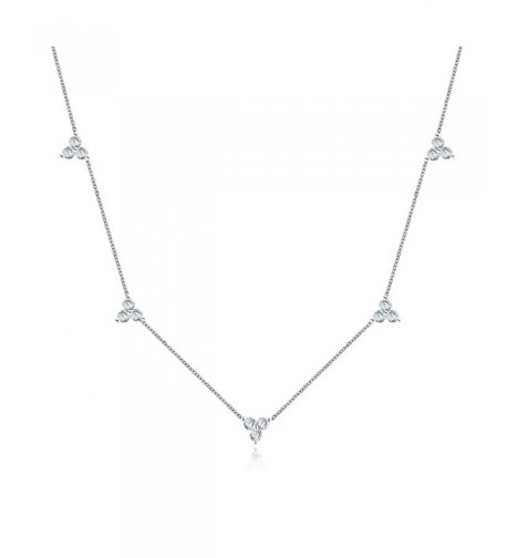 Sterling Silver Triple Cluster Necklace