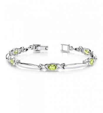 Peridot Bracelet Sterling Silver Rhodium