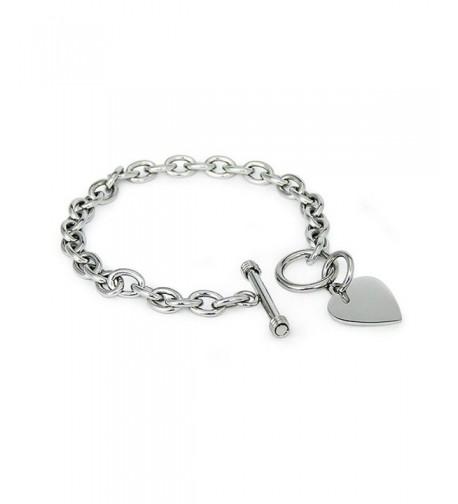 Stainless Steel Heart Tag Bracelet