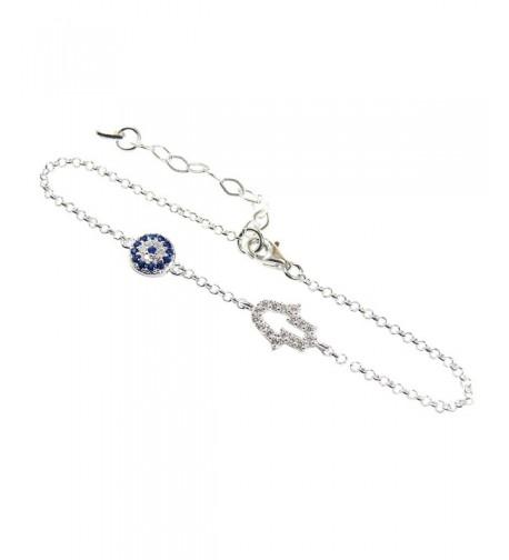 Sterling Silver Fatima Bracelet Zirconia