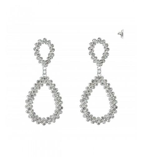 Jagged Teardrop Design Earrings Silver Tone