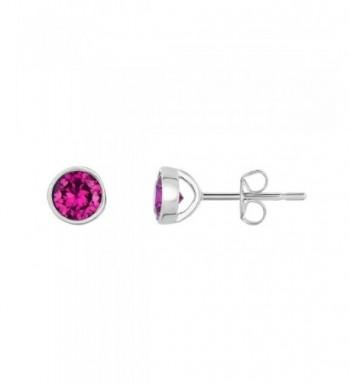 Sterling Silver Bezel Created Earrings