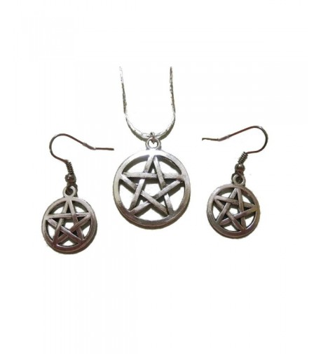 Pewter Pentacle Pentagram Necklace Earring