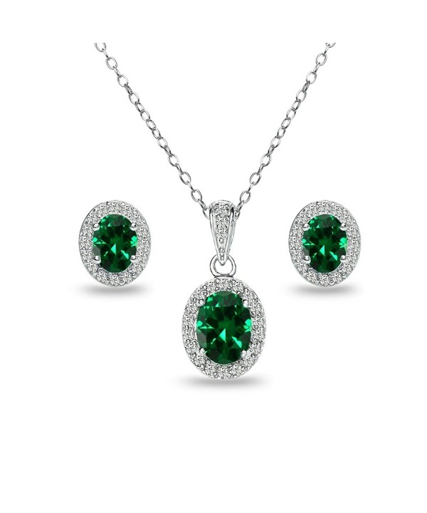 Sterling Simulated Emerald Necklace Earrings