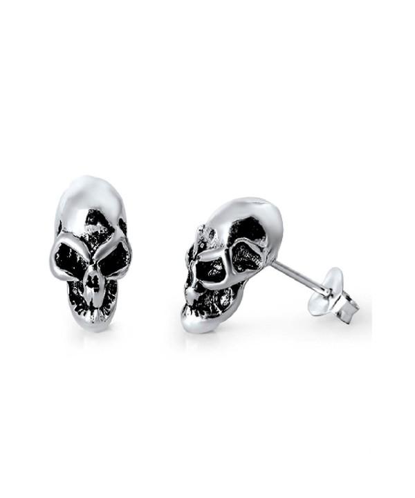 Sterling Silver Alien Skull Earrings