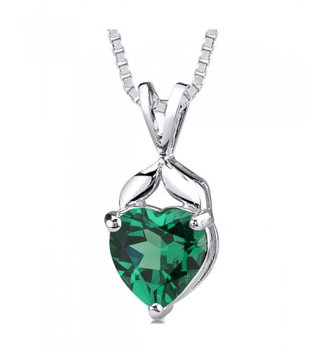 Simulated Emerald Pendant Sterling Silver