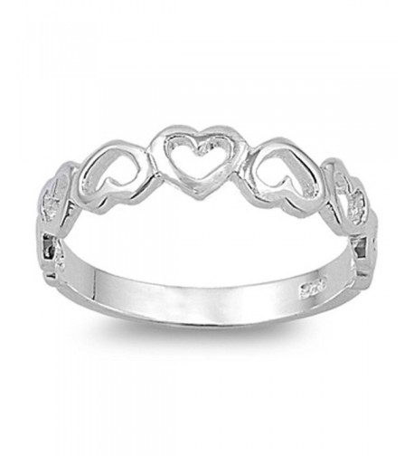Plain Heart Band Sterling Silver