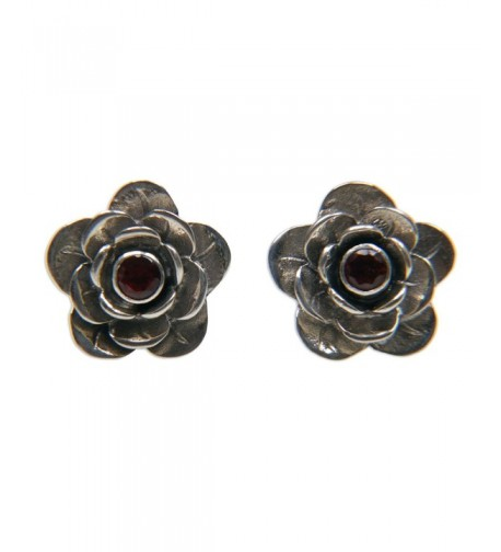 NOVICA Garnet Sterling Earrings Camellia