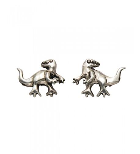 Sterling Silver T Rex Dinosaur Earrings