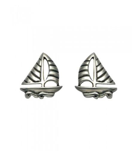 Sterling Silver Sailboat Waves Earrings