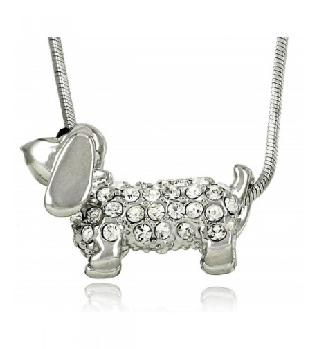 Adorable Small Daschund Crystal Necklace