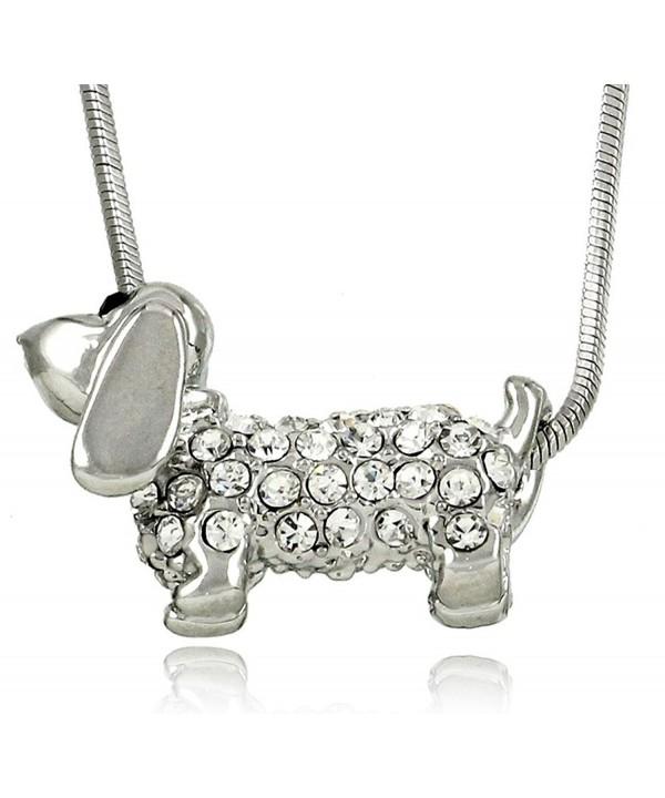 Adorable Small Daschund Crystal Necklace