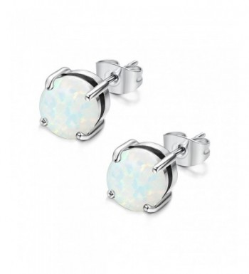 Jstyle Stainless Earrings Created Opal Piercing