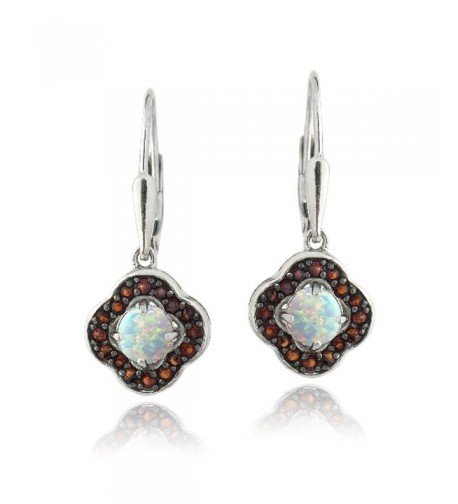 Sterling Silver Garnet Created Earrings
