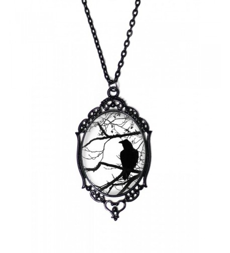 Black White Raven Necklace Antique