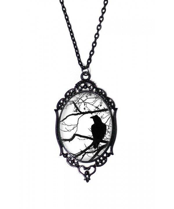 White Raven And Tree Cameo Necklace