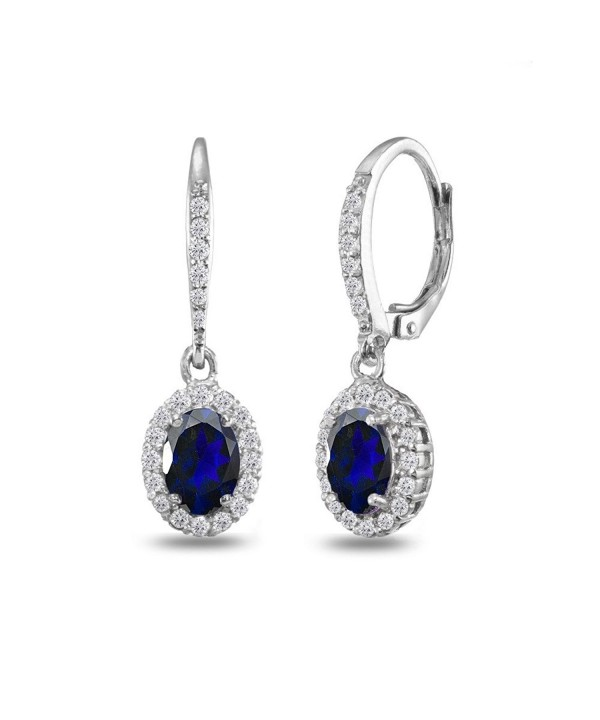 Sterling Created Sapphire Leverback Earrings