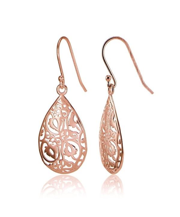 Flashed Sterling Silver FiligreeTeardrop Earrings