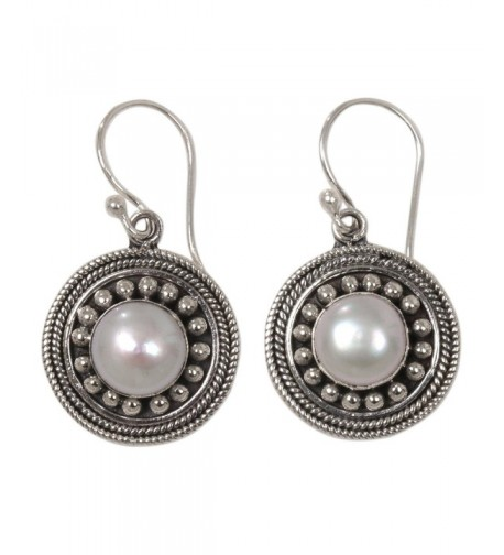 NOVICA Cultured Sterling Earrings Moonlight