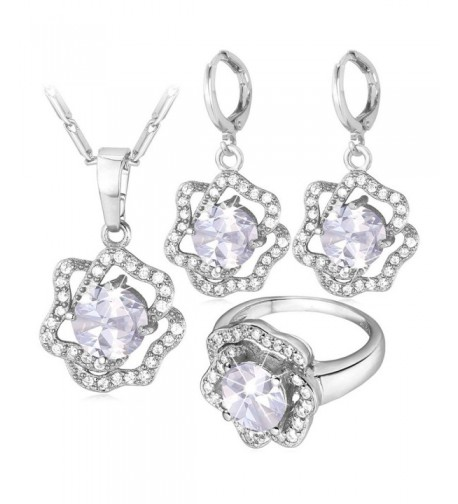 Jewelry Platinum Diamond accented Necklace Earrings
