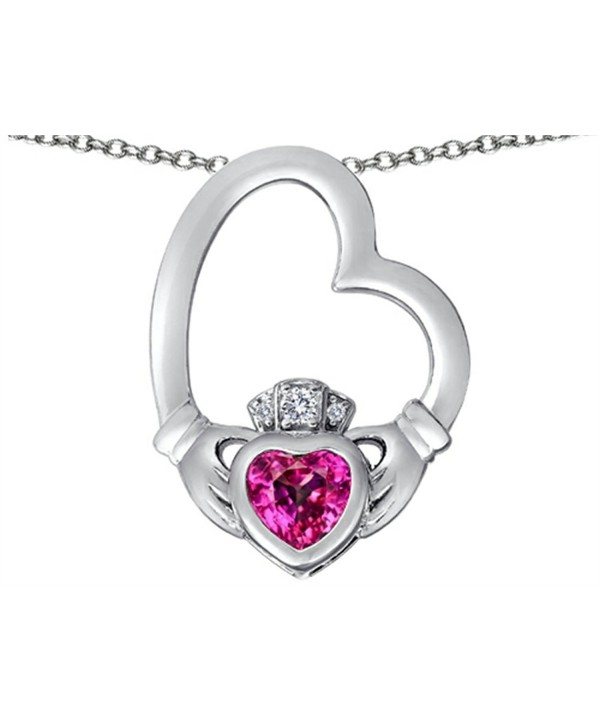 Star Floating Claddagh Necklace Sapphire