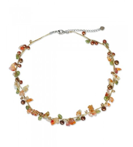 NOVICA Freshwater Cultured Necklace Carnelian