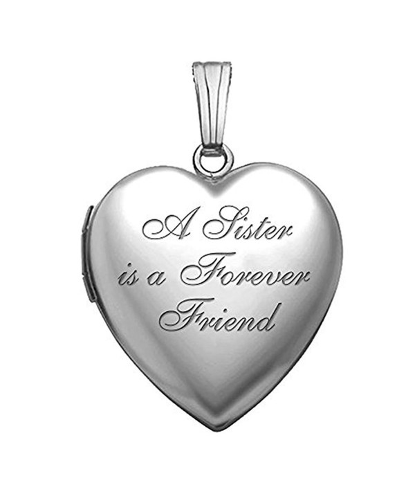 3//4 Inch X 3//4 Inch with Engraving PicturesOnGold.com Sterling Silver Sisters Heart Locket
