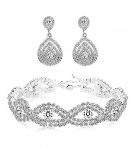 Finrezio Bracelets Teardrop Earrings Crystals