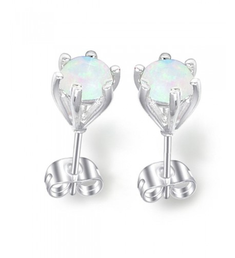 Luckyshine Created Round Silver Earrings