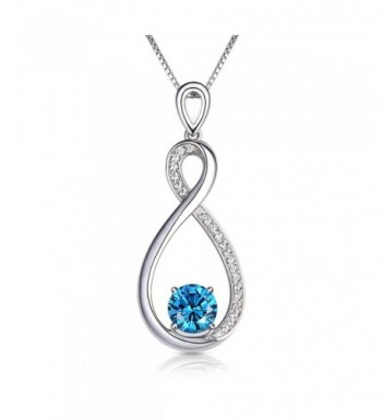Conmisun Infinity Necklace Aquamarine Birthstone