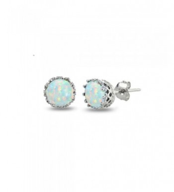 Sterling Silver Created White Earrings