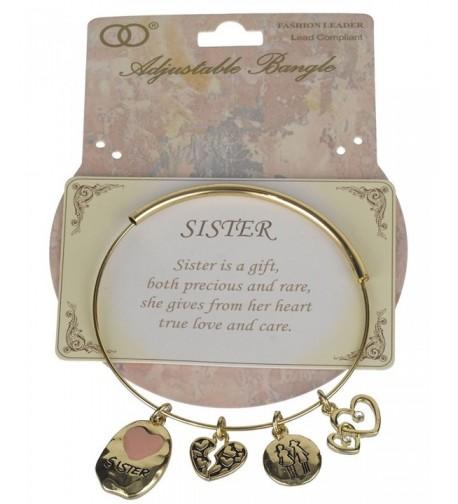 Sister Gold tone Adjustable Bangle Bracelet