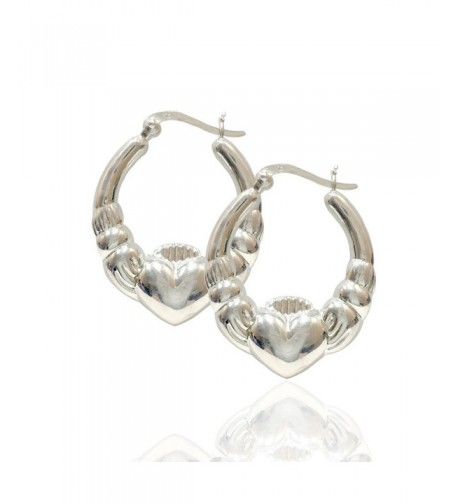 Sterling Silver Polished Claddagh Earrings