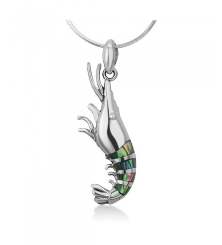 Sterling Abalone Lobster Pendant Necklace