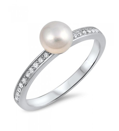White Simulated Sterling Silver RNG16033 7