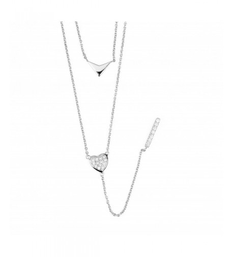 Sterling Layered Zirconia Triangle Necklace