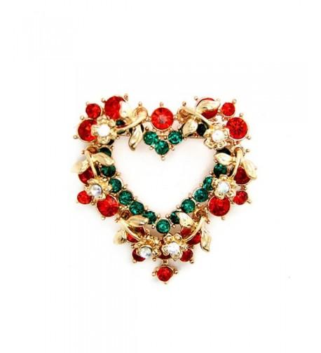 Brooch Vintage Crystal Wreath Holiday