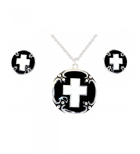 Siver tone Black White Necklace Earrings