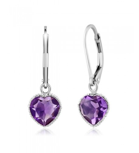 Sterling Amethyst Gemstone Birthstone Earrings