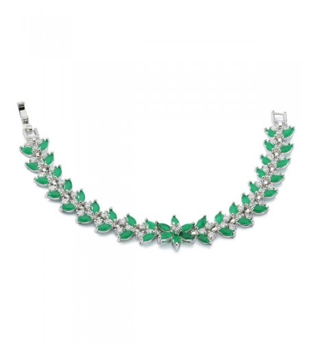 Rellecona Platinum Sterling Emerald Bracelet