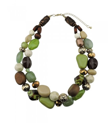 Statement Chunky Fashion Necklace NK 10384 olive